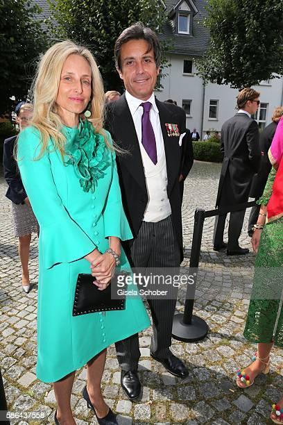 Pia Getty and Jose Antonio Ruiz Berdejo y Sigurta , formerly husband of Julia Oetker during the wedding of Prince Maximilian zu...