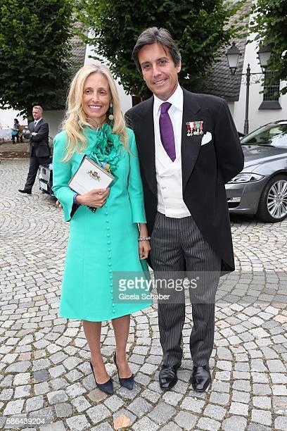 Pia Getty and Jose Antonio Ruiz Berdejo y Sigurta formerly husband of Julia Oetker during the wedding of Prince Maximilian zu...