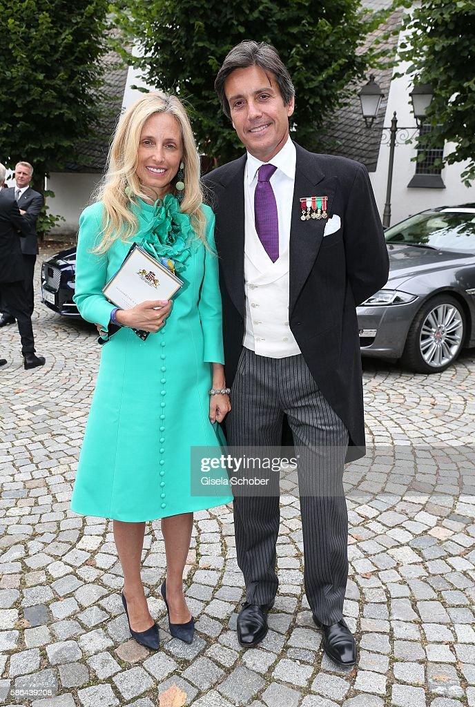 Pia Getty and Jose Antonio Ruiz Berdejo y Sigurta , formerly husband of Julia Oetker during the wedding of Prince Maximilian zu Sayn-Wittgenstein-Berleburg and Franziska Balzer on August 6, 2016 in Bad Laasphe, Germany.