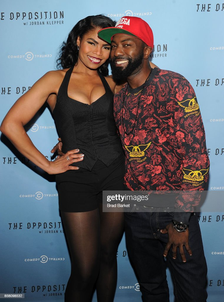 Pia Glenn and Desus Nice attend Comedy Central's 'The Opposition w/ Jordan Klepper' premiere party at The Skylark on October 5, 2017 in New York City.