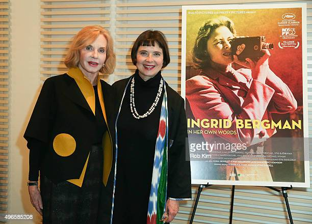 """Pia Lindstrom and Isabella Rossellini attend the New York Premiere of """"Ingrid Bergman: In Her Own Words"""" at Scandinavia House on November 10, 2015 in..."""
