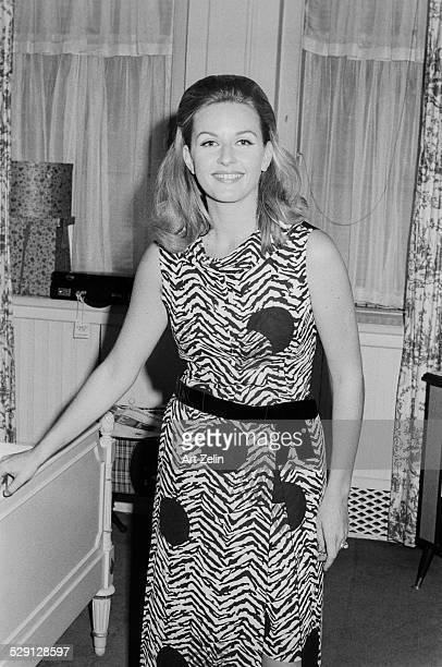 Pia Lindstrom, daughter of Ingrid Bergman in a hotel room; circa 1970; New York.