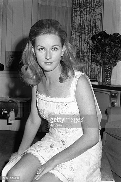 Pia Lindstrom Ingrid Bergman's daughter in a hotel room; circa 1970; New York.