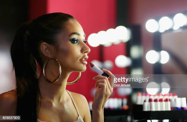 Pia Mia applies makeup during the launch of The Selfie Story by mark at Westfield Sydney on August 11 2017 in Sydney Australia It is the world's...