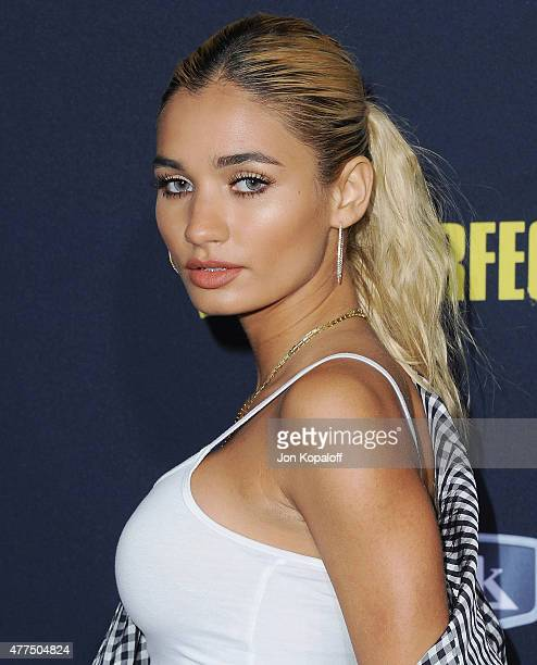 Pia Mia arrives at the Los Angeles Premiere Pitch Perfect 2 at Nokia Theatre LA Live on May 8 2015 in Los Angeles California