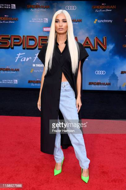 Pia Mia attends the premiere of Sony Pictures' SpiderMan Far From Home at TCL Chinese Theatre on June 26 2019 in Hollywood California