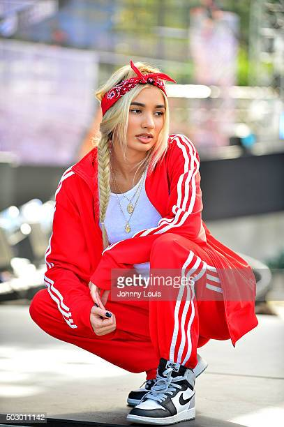 Pia Mia during Pitbull's New Year's Revolution rehearsal at Bayfront Park Amphitheater on December 30 2015 in Miami Florida