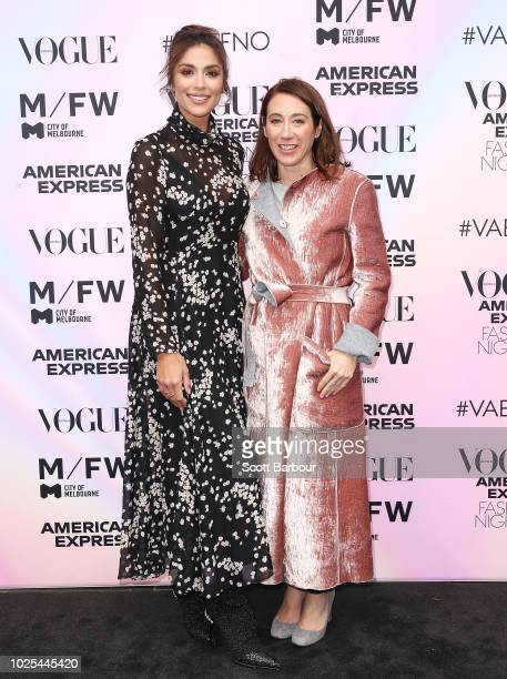 Pia Miller and Edwina McCann Editorial Director Vogue pose during Vogue American Express Fashion's Night Out on August 31 2018 in Melbourne Australia