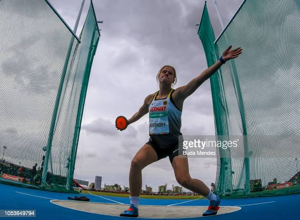 Pia Northoff of Germany competes in Women's Discus Throw 1kg Stage 1during day 5 of Buenos Aires 2018 Youth Olympic Games at Youth Olympic Park Villa...