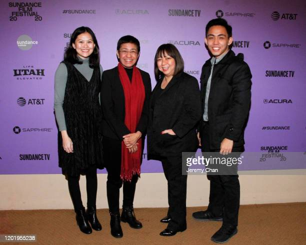 """Pia Ranada, Maria Ressa, Writer/Director Ramona S. Diaz and Rambo Talabong attend the """"A Thousand Cuts"""" Premiere during the 2020 Sundance Film..."""