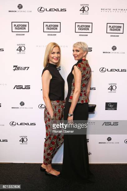 Pia Sarpei and Britt Jolig attend the PF Selected show during Platform Fashion July 2017 at Areal Boehler on July 23 2017 in Duesseldorf Germany