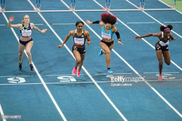 Pia Skrzyszowska, Christina Clemons, Taliyah Brooks, Tobi Amusan compete during women's 60m hurdles during the World Athletics Indoor Tour at Arena...