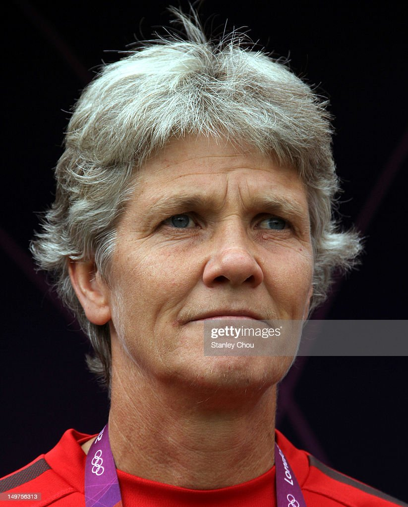 Pia Sundhage coach of the United States looks on during the Women's Football Quarter Final match between United States and New Zealand, on Day 7 of the London 2012 Olympic Games at St James' Park on August 3, 2012 in Newcastle upon Tyne, England.