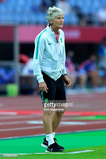 Pia Sundhage, Head Coach of Team Brazil looks on during the Women's First Round Group F match between China and Brazil during the Tokyo 2020 Olympic...