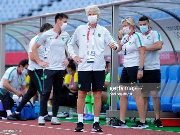 Pia Sundhage, Head Coach of Team Brazil wears a face mask prior to the Women's First Round Group F match between China and Brazil during the Tokyo...