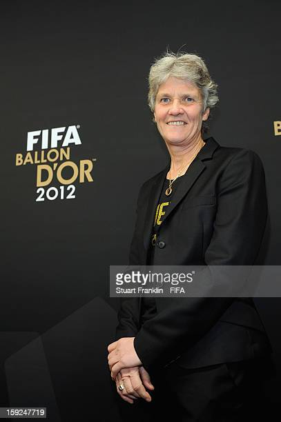 Pia Sundhage of Sweden poses for photographs on the red carpet during the FIFA Ballon d'Or Gala 2012 at the Kongresshaus on January 7 2013 in Zurich...