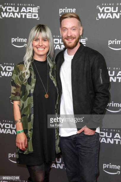 Pia Tillmann and influencer and presenter Steffen Donsbach attends the premiere of the second season of 'You are wanted' at Filmtheater am...