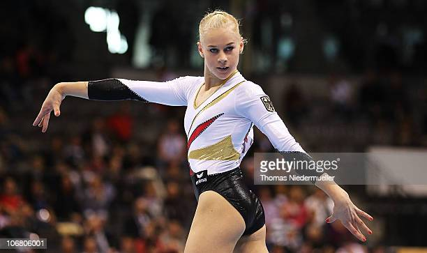 Pia Tolle of Germany performs at the floor during the EnBW Gymnastics Worldcup 2010 at the Porsche Arena on November 13 2010 in Stuttgart Germany