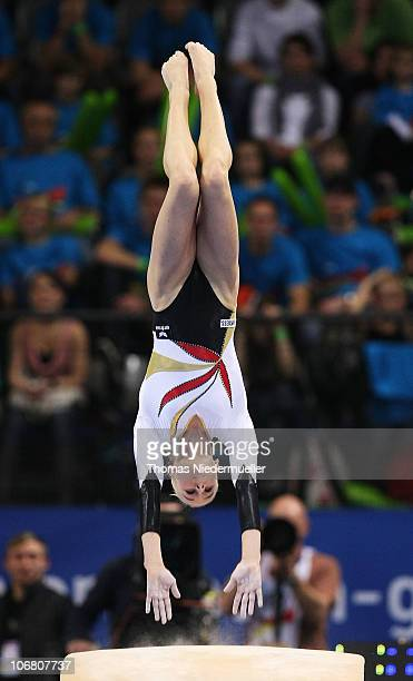 Pia Tolle of Germany performs at the vault during the EnBW Gymnastics Worldcup 2010 at the Porsche Arena on November 13 2010 in Stuttgart Germany