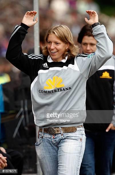 Pia Wunderlich injured player of 1FFC Frankfurt celebrates after winning the championships after the women Bundesliga match between 1FFC Frankfurt...