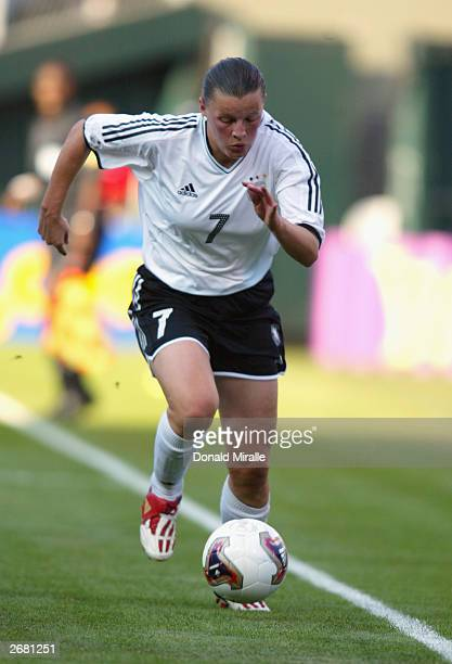Pia Wunderlich of Germany advances the ball along the sideline during the semifinals of the FIFA Women's World Cup match against the USA on October 5...