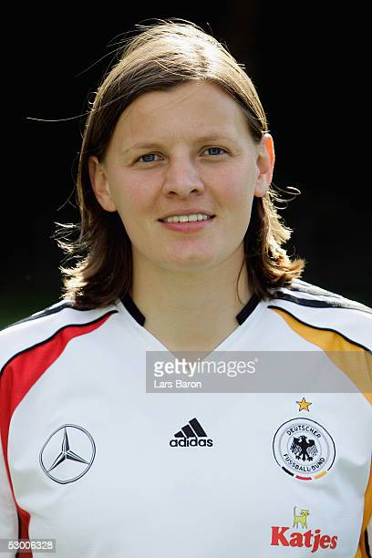 Pia Wunderlich poses during the photo call for the German Football Team on June 1 2005 in Heusenstamm Germany