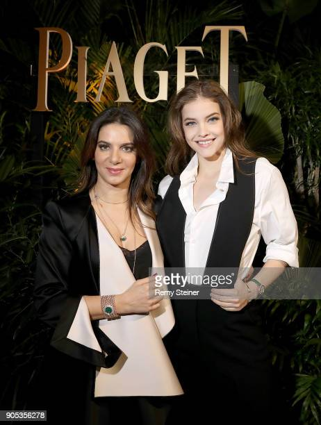 Piaget CEO Chabi Nouri and Barbara Palvin attend the #Piaget dinner at the Country Club during the #SIHH2018 on January 15 2018 in Geneva Switzerland