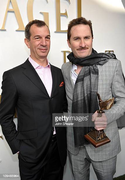 Piaget CEO Philippe LeopoldMetzger and director Darren Aronofsky winner of the Best Director award for 'Black Swan' in the Piaget Lounge at the 2011...