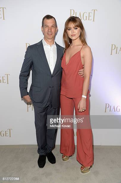 Piaget CEO Philippe LeopoldMetzger and fashion blogger Kristina Bazan attend the 2016 Film Independent Spirit Awards sponsored by Piaget on February...