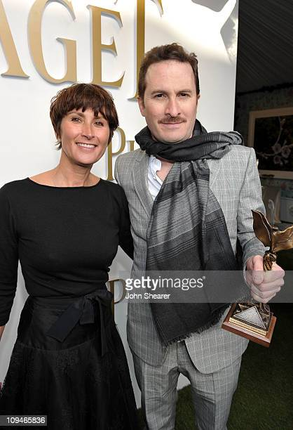 Piaget PR Manager Natacha Hertz and director Darren Aronofsky winner of the Best Director award for 'Black Swan' in the Piaget Lounge at the 2011...