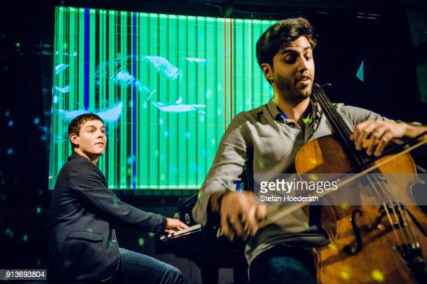 Pianist Aaron Pilsan and cellist Kian Soltani perform live on stage during Yellow Lounge organized by recording label Deutsche Grammophon at Gretchen...