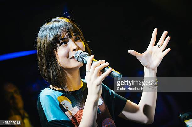Pianist Alice Sara Ott performs live during Yellow Lounge organized by recording label Deutsche Grammophon at Berghain on September 29 2014 in Berlin...