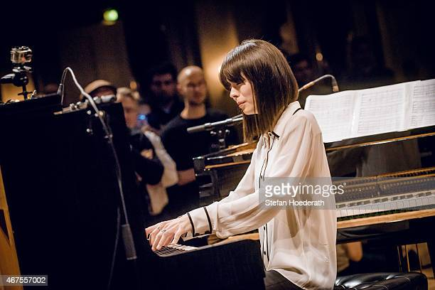 Pianist Alice Sara Ott performs live on stage during Yellow Lounge organized by recording label Deutsche Grammophon at Konzerthaus Am Gendarmenmarkt...