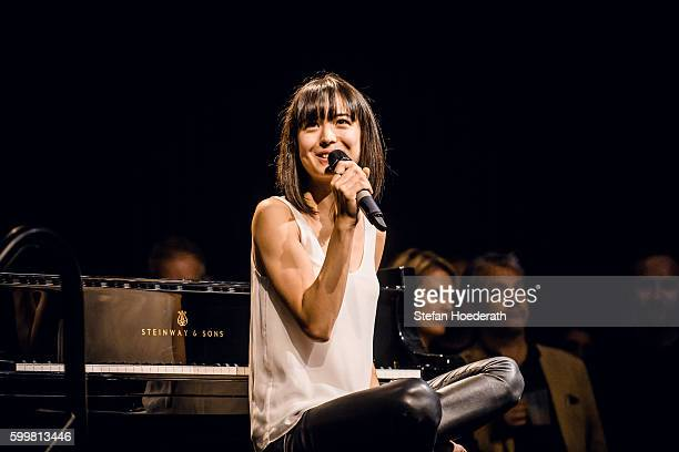 Pianist Alice Sara Ott performs live on stage during Yellow Lounge organized by recording label Deutsche Grammophon on September 6