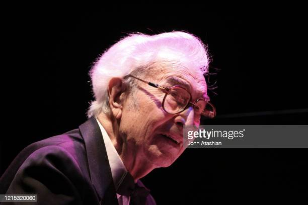 Pianist and composer Dave Brubeck is shown performing on stage during a live concert appearance on April 29, 2010.