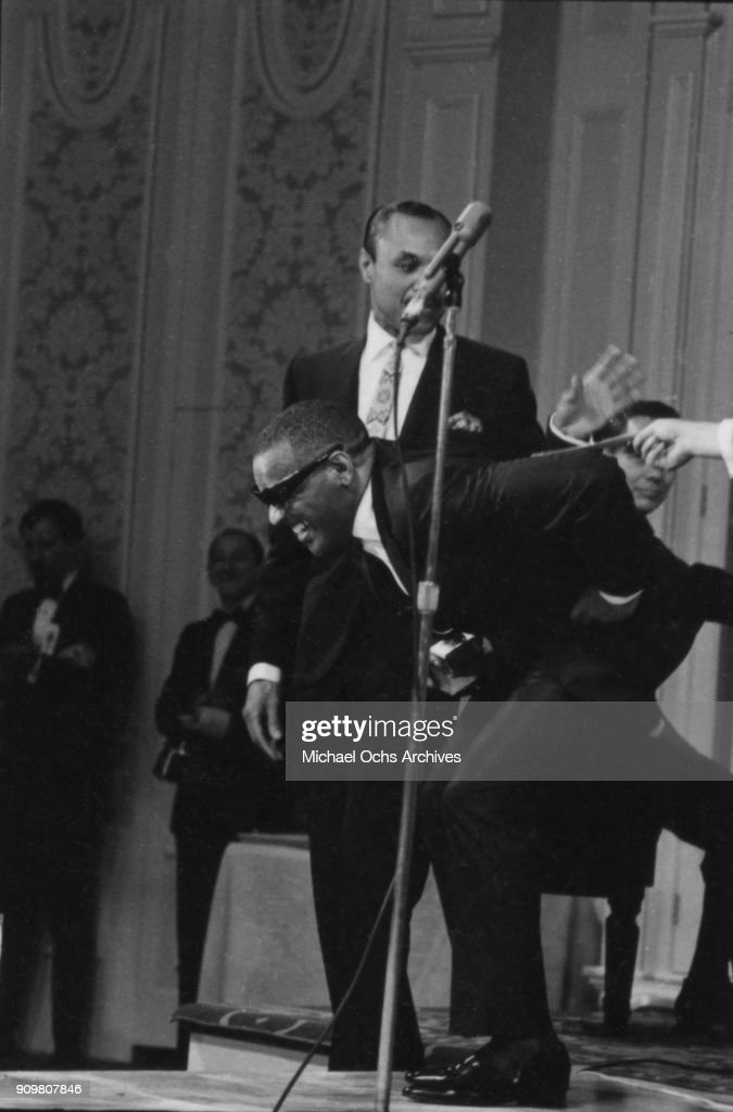 Pianist and entertainer Ray Charles receives a Grammy at the Grammy Awards ceremony on March 2, 1967 in Los Angeles, California.