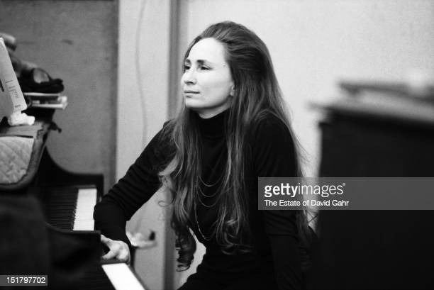 Pianist and singer Bobbie Nelson in the studios of Atlantic Records for a Willie Nelson recording session in February 1973 in New York City New York