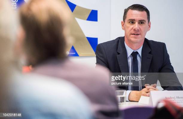 Pianist Andrej Hermlin speaking at a press conference on the 29th Jewish Culture Days in Berlin Germany 20 October 2016 This years's Jewish Culture...