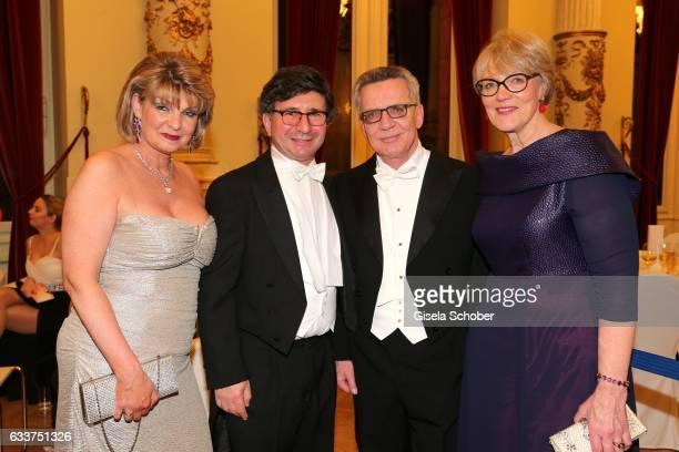 Pianist Arkadi Zenziper and his wife Tatjana Zenziper, Thomas de Maiziere and his wife Martina during the Semper Opera Ball 2017 at Semperoper on...