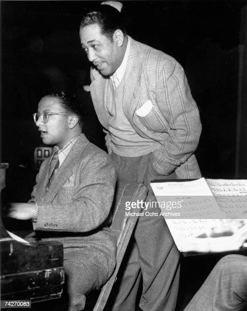 """Pianist Billy Strayhorn and composer Duke Ellington recording the song """"Esquire Jump"""" in 1945."""