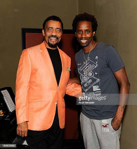 Pianist Bobby Lyle and drummer Oscar Seaton attend the Kaylene Peoples My Man CD recording session featuring pianist Bobby Lyle on October 22 2013 at...