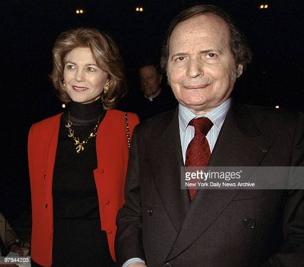 Pianist Byron Janis and his wife Maria Cooper Janis arrive for debut concert of Janis' musical The Hunchback of Notre Dame at St Bartholomew's Church...