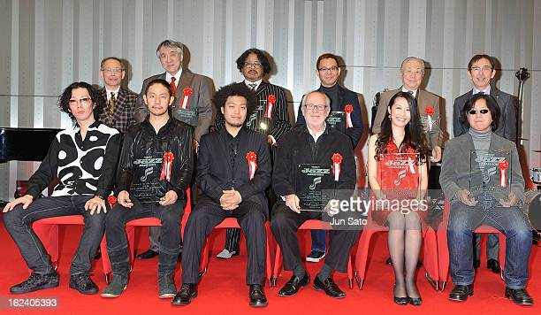 Pianist/ composer Bob James and winners attends the Jazz Japan Award Ceremony at Nissan Motor Co Global Headquarters on February 23 2013 in Yokohama...
