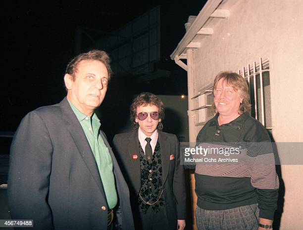 Pianist Don Randi and drummer Hal Blaine pose and producer Phil Spector for a portrait at a Hal Blaine book release party at Mr Randi's club The...