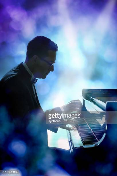 Pianist during stage performance
