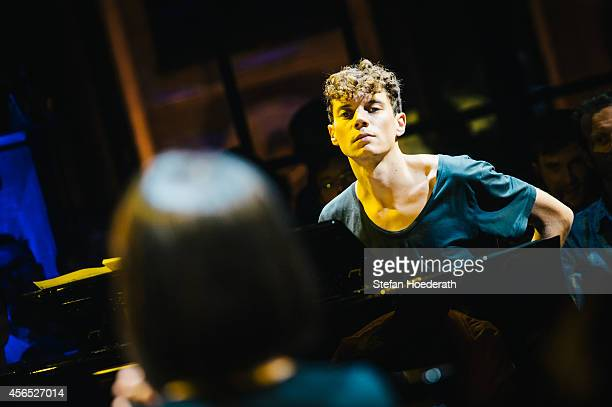 Pianist Francesco Tristano performs live during Yellow Lounge organized by recording label Deutsche Grammophon at Berghain on September 29 2014 in...