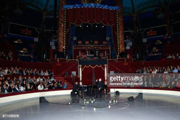 Pianist Gerard Daguerre and Gerard Depardieu acknowledge the applause of the audience at the end of 'Depardieu Chante Barbara' at Le Cirque d'Hiver...