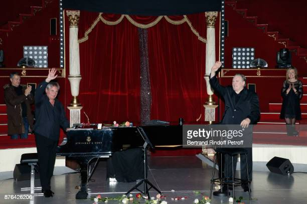 Pianist Gerard Daguerre and Gerard Depardieu acknowledge the applause of the audience at the end of Barbara makes Gerard Depardieu triumph in...