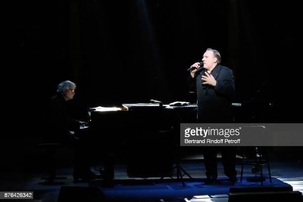 Pianist Gerard Daguerre and Gerard Depardieu perform as Barbara makes Gerard Depardieu triumph in 'Depardieu Chante Barbara' at 'Le Cirque D'Hiver'...