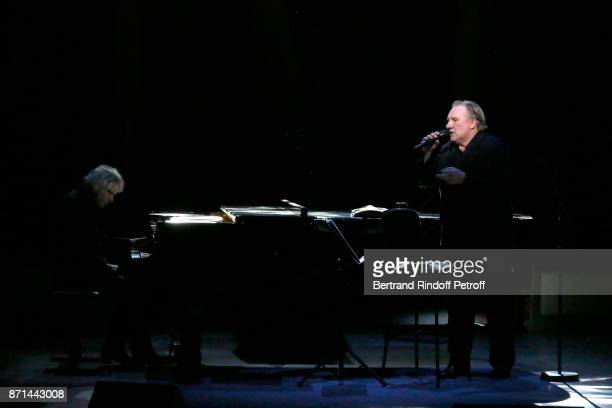 Pianist Gerard Daguerre and Gerard Depardieu perform during 'Depardieu Chante Barbara' at Le Cirque d'Hiver on November 7 2017 in Paris France